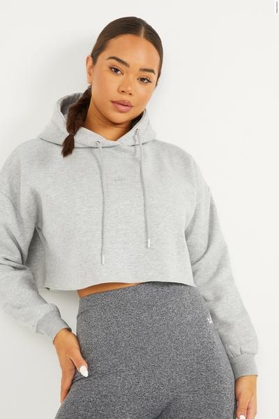Grey Cropped Crown Hoodie